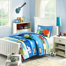 REVERSIBLE SOFT BOYS BLUE FIRE POLICE TRAIN TRUCK AIRPLANE CAR COMFORTER SET NEW