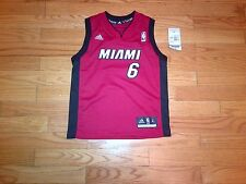 New LeBron James # 6 Miami Heat Adidas Replica Kids Red Jersey (Size 4 - 7)