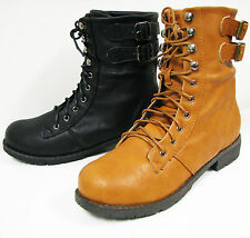 Women's Boots Ankle Fashion Lace Up Faux Leather Strap Buckle Combat Shoes Sizes