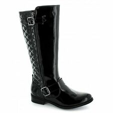 Heart & Sole LAURA Womens Ladies Faux Patent Buckle Knee High Riding Boots Black