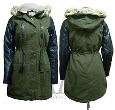 New Woman Quilted Leather Sleeve PARKA Jacket Fully Fur Fishtail Hooded Coat