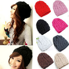 Lady Women Knit Winter Warm Crochet Hat Braided Baggy Beret Beanie Cap 8 Colors