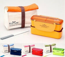 Lock & and Lock Slim  Lunch box Set Insulated Bag & Chopsticks Keeps Warm NIP