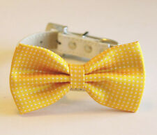 Yellow Dog Bow Tie attached to dog collar, Dog bow tie, Yellow bow tie, Doglover