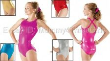 NEW Foil Metallic Dance Gymnastics Criss Cross Back Leotard Child Adult Sizes