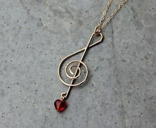 Music Lover Necklace- 14k Gold filled treble clef note charm, red glass heart