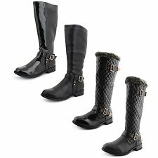 New Ladies Riding Below the Knee Buckle Zip Equestrian Long Boots Size UK 3-8