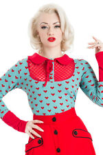 VOODOO VIXEN HEART DOTTED LACE LONGSLEEVE BLUE ROCKABILLY TOP SHIRT BLOUSE 50'S