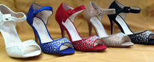 NEW Blossom Betsy Ladies Suede RhineStone PROM PARTY WEDDING Peep Toe Heels Pump