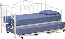 Lisbon French Black Cream White Metal Day Guest Bed and Trundle and Mattress