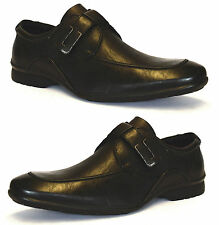Mens New Smart Casual Slip On Leather Lined Loafers Velcro Strap Shoes Size 6-11