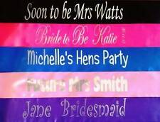 Personalised Hens Night Bridal Party Sashes - writing on Front & Back only $9.95