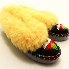 MOCCASIN Slippers Leather Sheepskin women's size:5,6,7,8,8.5,9,9.5,10 Handmade.