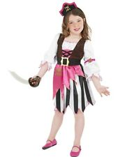 Girls pink pirate girl dressing up costume book day kid's party dress up outfit
