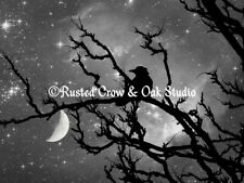 Surreal Black Bird Crow Stars Night Moon Bedroom Art Print Matted Picture A492BW