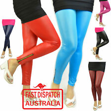 Footless Ladies 80s 70s Disco STRETCH Pants Metallic Tights Pants - Wet  Look