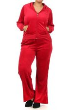 WOMENS VELOUR PLUS SIZE CASUAL JOGGING SUIT PURPLE RED BROWN GRAY PINK 1X 2X 3X