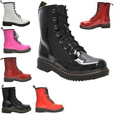 WOMENS ANKLE VINTAGE ZIPUP COMBAT LADIES RETRO STYLE LACES CAUSAL SHOES BOOT 3-8