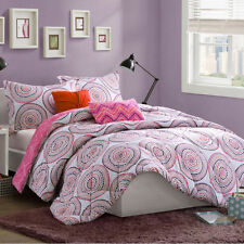BEAUTIFUL MODERN PURPLE GREY WHITE PINK RETRO FLORAL GIRLS CHIC  COMFORTER SET
