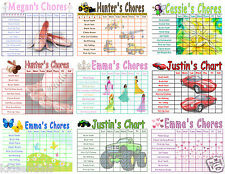 Chore Charts for kids, You Choose the Chores, Boy & Girl Themes, Reusable