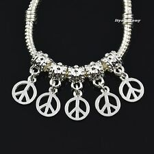 5x, 10x, 20x, Peace Symbol Silver Dangle Charm Beads fit European Bracelet