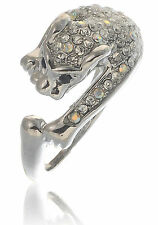 NEOGLORY SILVER PLATED/SWAROVSKI ELEMENT CRYSTAL PANTHER RING RI192