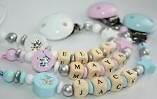 "Personalised Wooden dummy clip :""Glitter Crown"" -Chain / Strap Baby Present"