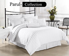 800-1000-1200TC FOR CANADA WHITE Bedding Sheet Pure 100% Egyptian Cotton Striped