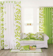 Window Curtains 100% Cotton Leaves Green White Panel 150 x 230cm