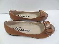 New Womens Tan Ballet Flat with Gold Tip Bow Detail Slip-on Shoes Sizes 5-10 US
