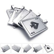 Mens Silver Stainless Steel Poker Playing Card Pendant Necklace Chain A K Q J 10