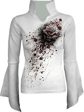 Spiral Direct WHITE ROSE Blood Splat Long Sleeve High Neck Top Goth Biker Rock