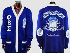 New! Mens Blue Phi Beta Sigma Button Up Thowback 50's Style Cardigan Sweater