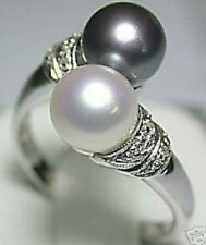 Beautiful fashion silver black white pearl rings Size;6-7-8-9