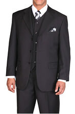 New Men's Basic 3 piece with vest Classic Luxurious Wool Feel  Black 5802V