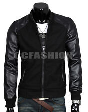 Casual Mens Fashion Splicing Slim Coat Top PU Leather Sleeve Jacket Outwear