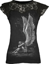 Spiral Direct ENSLAVED ANGEL Lace Layered T-Shirt Top Skulls Chains Goth Wings
