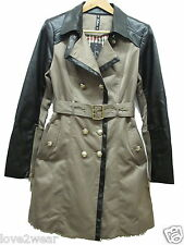 NEW Ladies Stone Faux Leather Mac Belted Jacket Trench Rain Coat Women Size 8-16