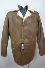 New 100% Genuine Shearling Leather Sheepskin Men Coat Jacket Trench S-5XL