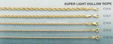 Men's & Women's SOLID 14K Gold Hollow Rope Chain Necklace 1.5 MM 16-24 Inches