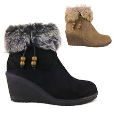 WOMENS LADIES GIRLS WEDGE HEEL BUCKLE FUR LINED SNOW WINTER ANKLE BOOTS NEW SIZE