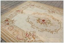 Aubusson Area Rug COUNTRY FRENCH PASTEL Wool Handwoven Vintage Home Decor Carpet