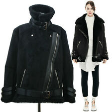 Hyper Chic Faux Shearling Velocite Aviator Jacket/Black-Silver Buckle/Free Size