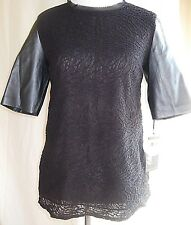 NICOLE RICHIE WOMENS SHORT-SLEEVE SHIRT TOP LACE FAUX-LEATHER ZOMBIE BLACK