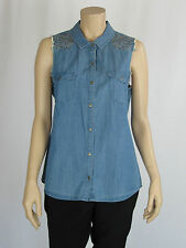 Sportsgirl Ladies Sleeveless Chambray Denim Shirt size 6 8 10 Colour Chambray
