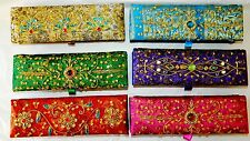 NWT EMBROIDERED BEADED SEQUIN INDIA STYLE RECTANGLE JEWELRY BOX HAND MADE
