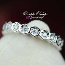 18CT White Gold Plated Fashion Sparkling Band Ring Made With Swarovski Crystals