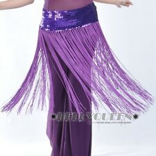 PLUS SIZE Belly Dance Hip Scarf Belt Wrap Sequins Skirt Costume Elastic Waist