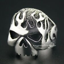 Huge & Heavy Solid 316L Stainless Steel Fire Skull Mens Biker Ring 3F002