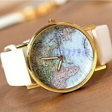 Fashion World Map Globe Leather Alloy Vintage Analog Quartz Watches